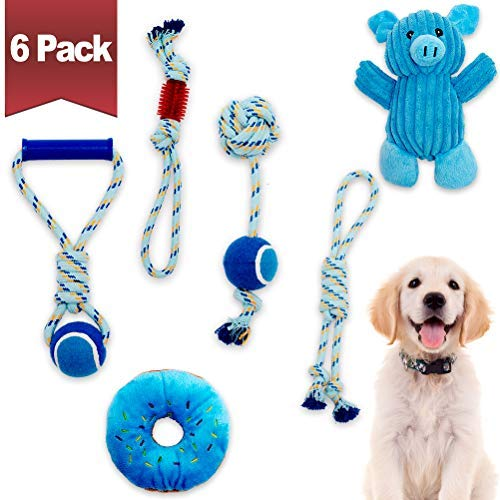 Dog Chew Toys Dog Teething Toys - Durable Dog Rope Toys with Tennis Ball, Plush Dog Squeaky Toys, Blue