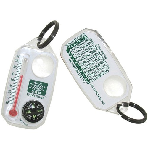 Sun Company TripleGage - Zipper Pull Compass, Thermometer, and Magnifying - Key Compass