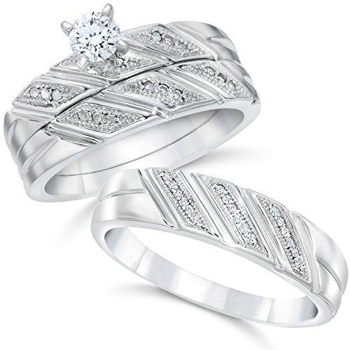 Diamond Trio Wedding Set - 1/3ct His & Hers Diamond Trio Engagement Wedding Bridal Ring Set 10K White Gold - Size Women's 7 / Men's 8.5
