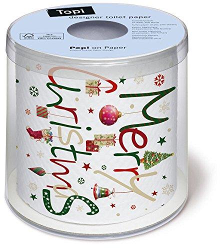 Toilettenpapier Rolle bedruckt Around the world - Merry Christmas