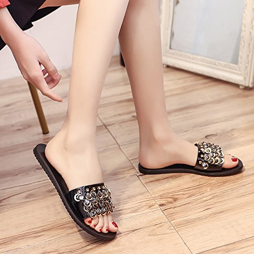 Fheaven Womens Flips Flops Sandalen Summer Shoes Rhinestone Flats Sandals Slipt String Zwart
