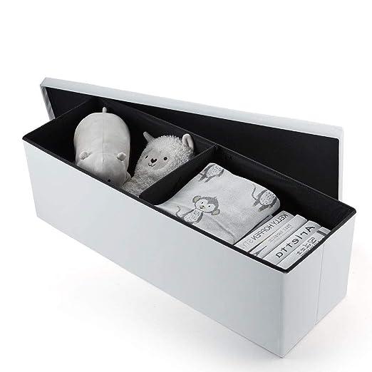 Homeway Baúl Puff Taburete para almacenaje Plegable - Asiento Plegable Arcón Asiento Puf Ordenación Caja de almacenaje 110(CM) x 38(CM) x 38(CM) Carga ...