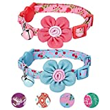 "Blueberry Pet 4 Designs Pack of 2 Cat Collars, Lovely Cherry Floral Prints Adjustable Breakaway Cat Collar Flower & Bell, Neck 9""-13"""