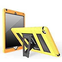 iPad Air 2 Case - MoKo [Kickstand] Durable Hybrid Silicone + Hard Polycarbonate Kid Proof Extreme Duty [Shock-Absorption] with Foldable Stand Protective Cover for iPad 6 9.7 Inch Tablet, YELLOW