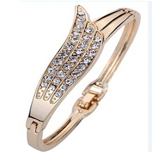 Bangle Bow Shape Crystal Bracelet 9K Yellow Gold Filled Prom Gift HOT SALE Smooth (9 Ct Gold Bangles)