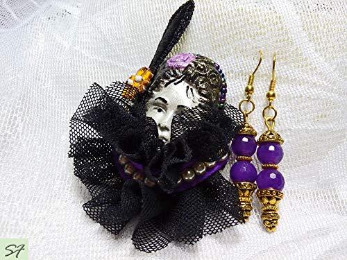 Art Deco black purple brooch Lady Face Head Pin Brooch Woman Polymer Art Clay Figural with Amethyst Earrings