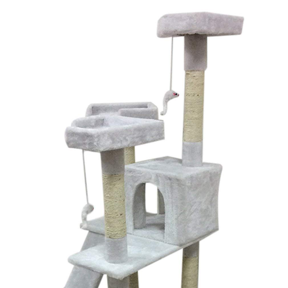 Blackpoolal Cat tree Kitten Scratching Post Tree with Rope and Hammock Scratches Bed Tree Climbing Toy Activity Center Pets Play Tower House Home Decorative Furniture