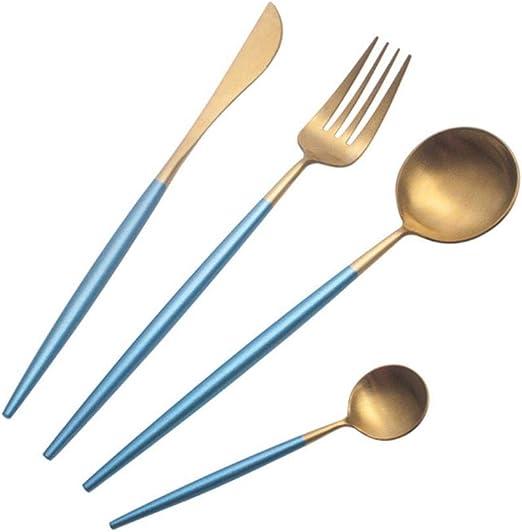 XiYon 4 Piezas/Juego de Cubiertos de Oro Blanco Juego de Mesa Tenedores Cuchillos Juego de cucharas Juego de Cuchillos de Cuchara de Acero Inoxidable 18/10 Cubiertos de Plata , Oro Azul: Amazon.es: