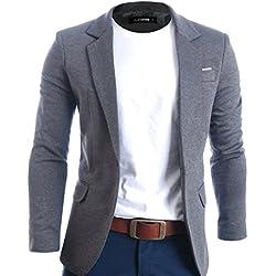 FLATSEVEN Mens Slim Fit Casual Premium Blazer Jacket (BJ102) Grey, L