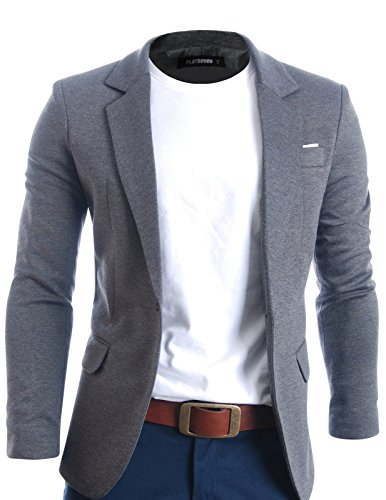 FLATSEVEN Mens Slim Fit Casual Premium Blazer Jacket (BJ102) Grey, L by FLATSEVEN