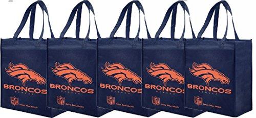 NFL Denver Broncos Printed Non-Woven Polypropylene Reusable Grocery Tote Bag (5 (Forever Collectibles Collectibles)