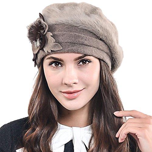 Women's Elegant Flower Wool Cloche Bucket Ridgy Bowler Hat 09-co20 (Angora beret-Brown)