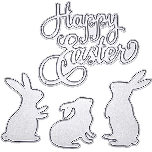 (Pangda Happy Easter Letter Cutting Dies and Bunny Rabbit Metal Stencil Template for DIY Scrapbook Album Paper Card Embossing, 4 Pieces)