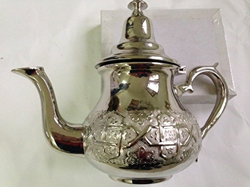 Moroccan 4 Cups Tea Pot Handmade Serving Small Brass Silver Plated Teapot Hand Carved In Fes Morocco
