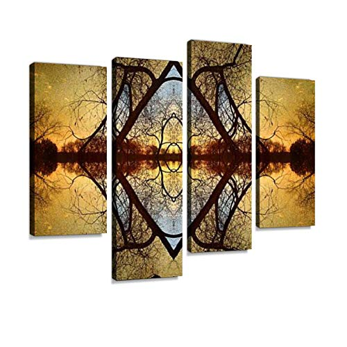 - Late Autumn Sunset on a Minnesota Lake with Tree Branches Canvas Wall Art Hanging Paintings Modern Artwork Abstract Picture Prints Home Decoration Gift Unique Designed Framed 4 Panel
