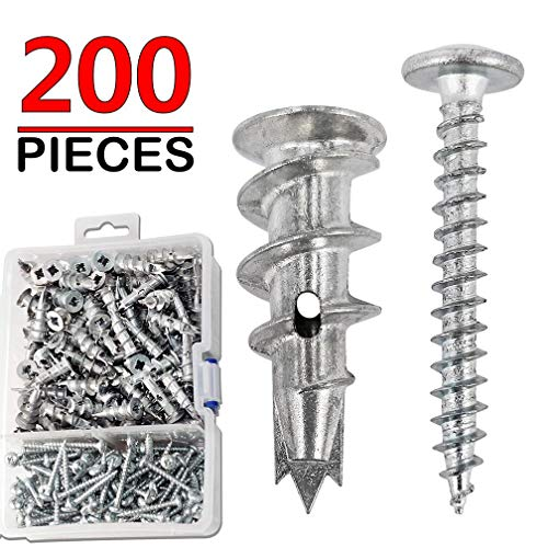 Ansoon Zinc Self Drilling Drywall Hollow-Wall Anchors with Screws Kit, 200 Pieces All Together ()