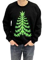 Ugly Christmas Sweater - Marijuana Christmas Tree Adult Black Sweatshirt