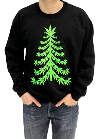 ugly christmas sweater marijuana christmas tree adult black sweatshirt adult small