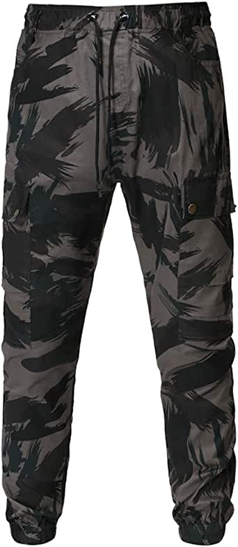 Mens Outdoor Pants Camouflage Splicing Elastic Waist Drawstring Trousers Training Sweatpant