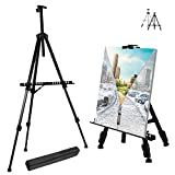 T-Sign 66'' Reinforced Artist Easel Stand, Extra Thick Aluminum Metal Tripod Display Easel 21'' to 66'' Adjustable Height with Portable Bag for Floor/Table-Top Drawing and Displaying