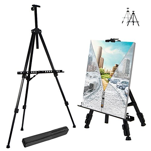 T-Sign 66'' Reinforced Artist Easel Stand, Extra Thick Aluminum Metal Tripod Display Easel 21'' to 66'' Adjustable Height with Portable Bag for Floor/Table-Top Drawing and Displaying by T-SIGN