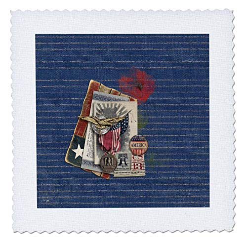 Clock Metal Bond (3dRose Beverly Turner Patriotic Design - Gold Eagle, Metal, Savings Bond, Button, and 13 Cent Stamp Look, USA - 20x20 inch Quilt Square (qs_287050_8))