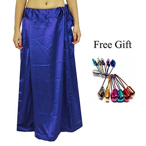 Odishabazaar Women Saree Petticoat Satin Silk Underskirt Lining for Sari + Free Sari Pin (Blue Silk Sari Saree)