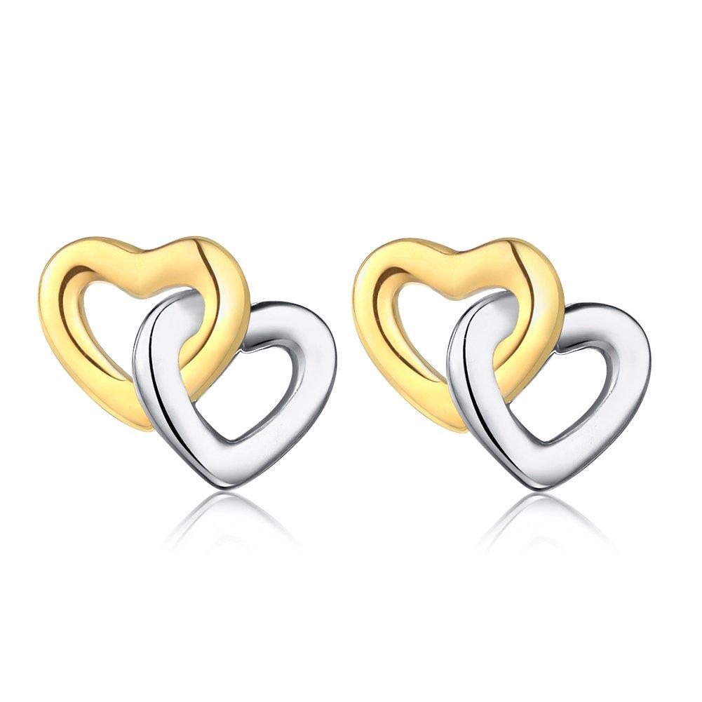Interlocked Love Hearts Stud Earrings in Gold/Rhodium 2-Tone Finish Sterling Silver 925 w/Butterfly Backs