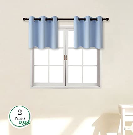 GIAERD Small Window Curtain Panels W42 X L18 Inches,Blackout Thermal Insulated Grommet Top Short