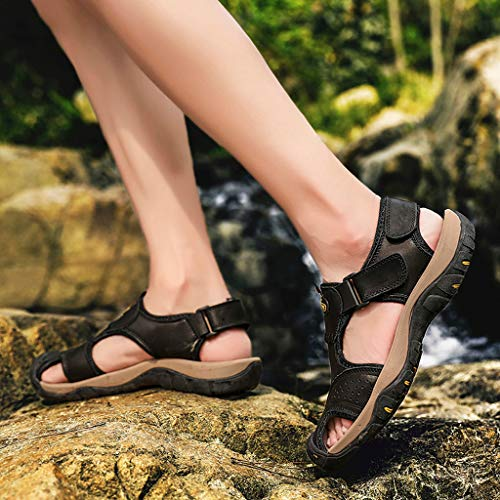 Summer Men's Sandals,Mens Fashion Leather Hiking Shoes Flats Slippers Beach Water Shoes Sport Sandals by Tronet Sandals (Image #6)