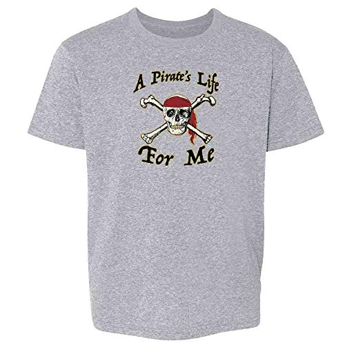 Pop Threads A Pirate's Life for Me Halloween Costume Skull Sport Grey 4T Toddler Kids T-Shirt -