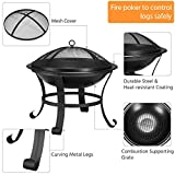 YAHEETECH Fire Pit 22inch Outdoor Wood Burning BBQ
