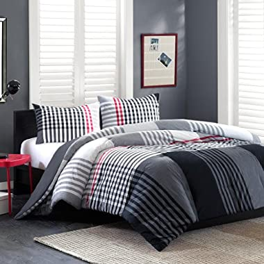 Ink+Ivy Blake 3-Piece Comforter Set, King, Black