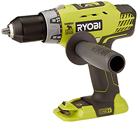 Ryobi P214 One+ 18 Volt Lithium Ion 1/2 Inch, 600-Pound Torque Hammer Drill (Batteries Not Included / Power Tool - 18v 18v Cordless Drill