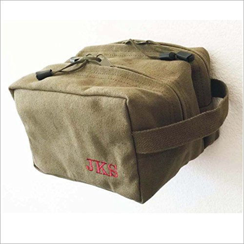 Set of 5 Groomsmen Gifts -Shave Kits Canvas bags ,Personalized Custom Dopp Kits Vintage Travel Military Toiletry Canvas Bags, Free Embroidery. by e-tradeusa