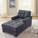 Modern Chaise Lounge Chair Velvet Upholstered