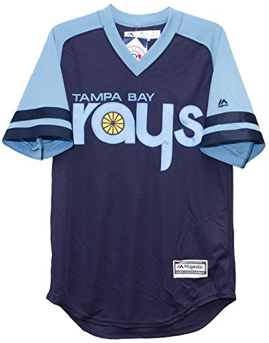 Tampa Bay Rays Navy/Light Blue Turn Back the Clock 1970's Cool Base Jersey (Medium)