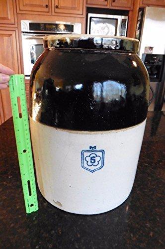 Stoneware Crock Jug - Vintage Stoneware Crock Jug urn rounded brown salt glaze No 5 flower & M marking