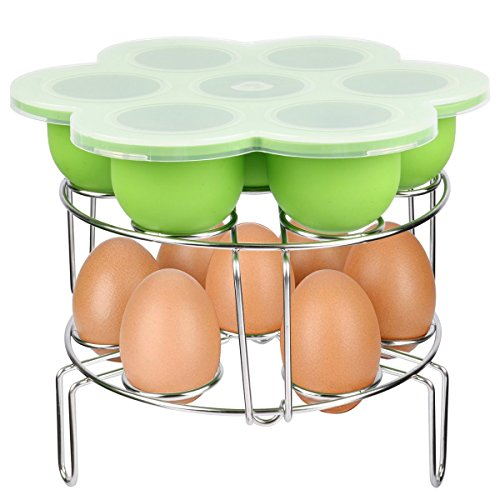 Silicone Egg Bites Molds and Stackable Egg Steamer Rack Set