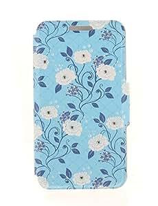 YULIN kinston rama negro y blanco patrón de pasta de diamante de la flor cubierta de cuero de la PU para el iphone 6