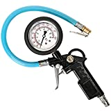 Larnn Pro Heavy Duty Tire Pressure Inflator Gauge with Lock On Chuck, For Car, Motorcycle, SUV, Bike