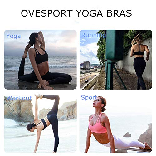 9e6555fff8c89 OVESPORT Women Sports Bras Workout Strappy Light Support Padded Cross Back  Active Sports Yoga Running Bra