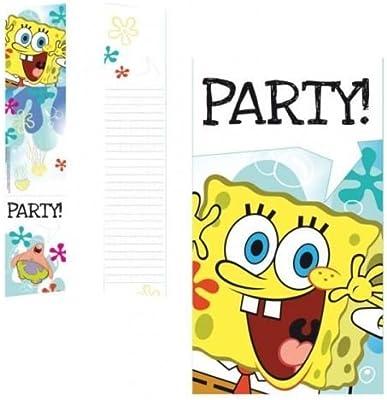 Bob Esponja Fiesta de cumpleaños invitaciones y sobres x 6 ...