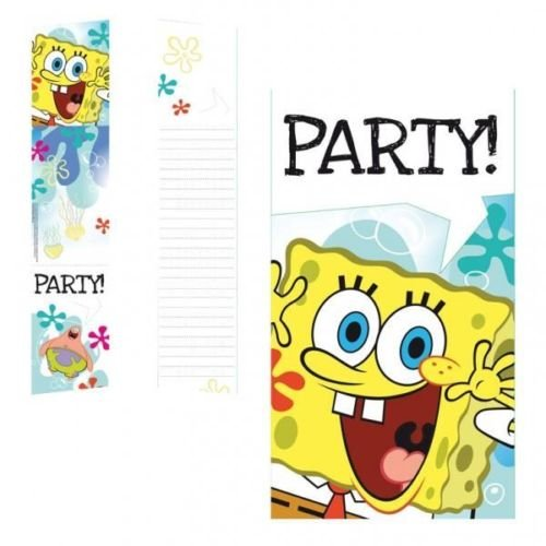 Spongebob Squarepants Party Invitations - SpongeBob SquarePants Birthday Party Invitations & Envelopes x 6