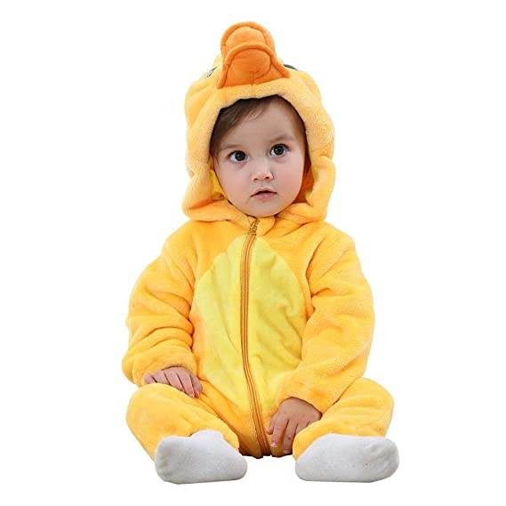 Newborn Baby Cartoon Animal Winter Hooded Rompers Front Zipper Jumpsuit NEW