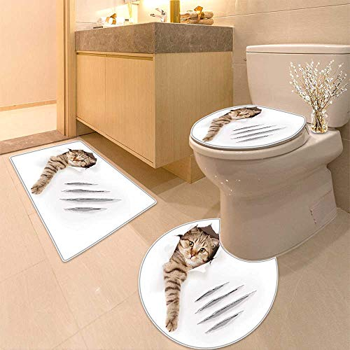 HuaWuhome 3 Piece Extended Bath mat Set House Animal Funny Cat in Paper Hole with Claw Scratches Playful KittenCute Pet Brown White Widen by HuaWuhome