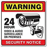 Warning 24 Hour Video Audio Security Surveillance Camera Sign. Prevent Theft and Vandalism