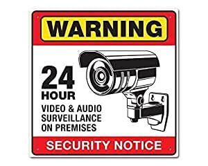 Amazon Com Warning 24 Hour Video Audio Security Surveillance Camera Sign Prevent Theft And
