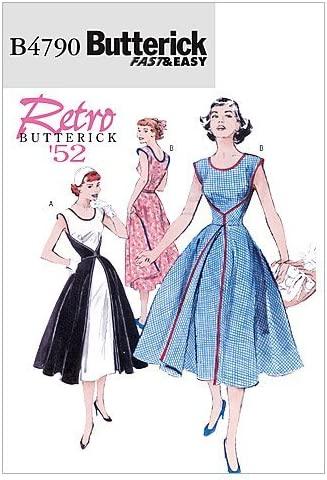 1950s Fabrics & Colors in Fashion Butterick Patterns B4790 Size FF 16-18-20-22 Misses Wrap Dress Pack of 1 White  AT vintagedancer.com