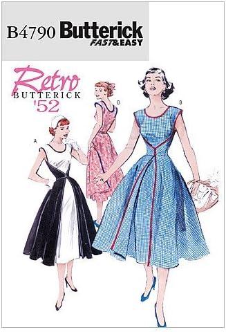 1950s Sewing Patterns | Dresses, Skirts, Tops, Mens Butterick Patterns B4790 Size FF 16-18-20-22 Misses Wrap Dress Pack of 1 White  AT vintagedancer.com
